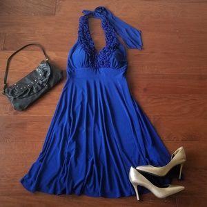 Blu Sage Blue Halter Dress with Ruffles NWT